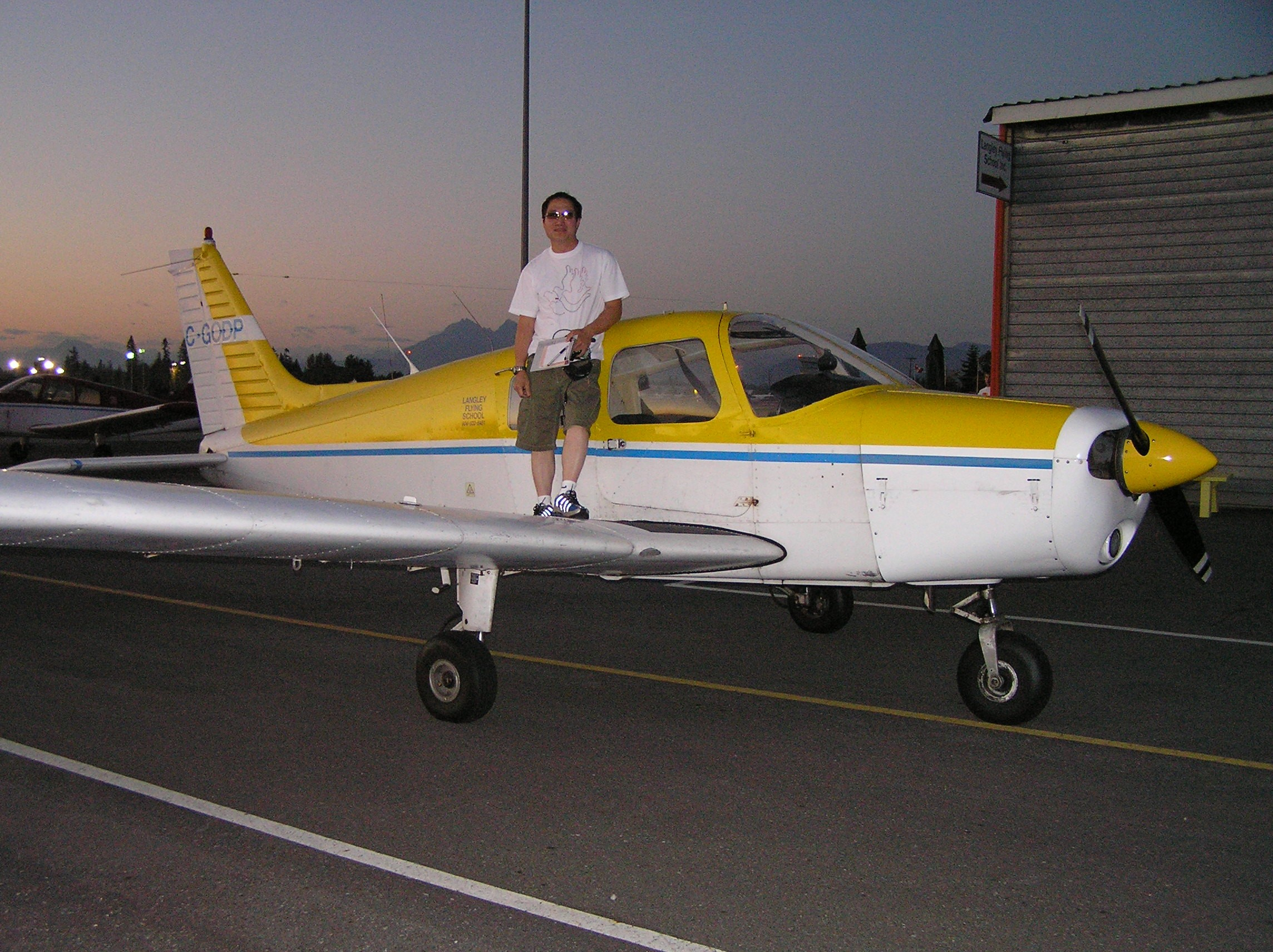 Frederick Yim after completing his First Solo Flight in Cherokee GODP on August 26, 2006, Langley Flying School.