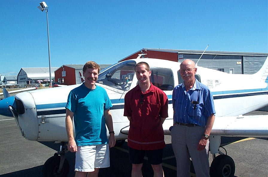 Jeffery Forseth with Flight Instructor Peter Waddington and Pilot Examiner Donn Richardson, following Jeff's Commercial Pilot Flight Test.  Langley Flying School.