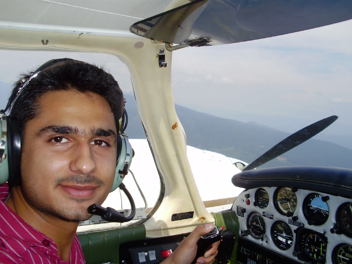Karan Pujji during his multi-engine training. Congratulations to Karan and his Flight Instructor, Philip Craig.  Karan completed his Multi-engine fFlight Test on July 1, 2009 with Matt Edwards. Langley Flying School.