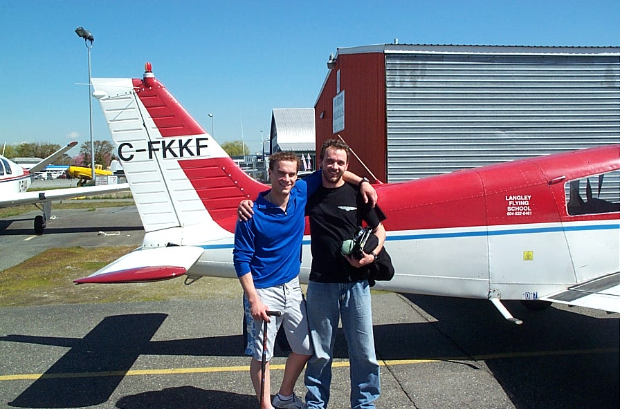 Steve Marsh with Flight Instructor Ryan Gahan after the successful completion of Steve's Private Pilot Flight Test.  Langley Flying School.