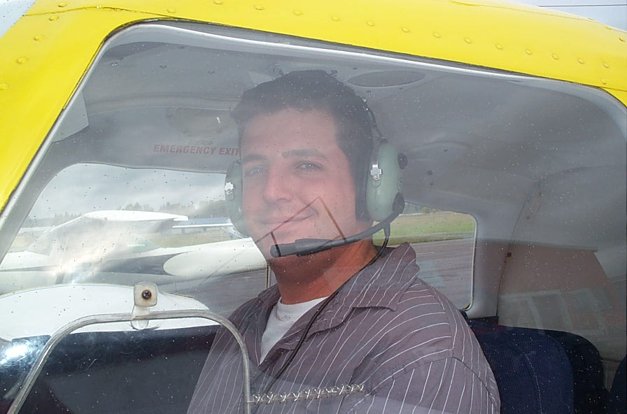 Tony McHale in Cherokee GODP after completing his First Solo Flight on October 1, 2007, Langley Flying School.