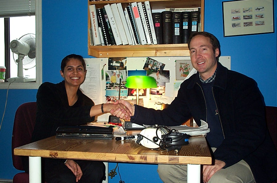 Sukhmani Brar with Pilot Examiner Jeff Durrand after the successful conclusion of Sukhmani's Commercial Pilot Flight Test on December 21, 2007.