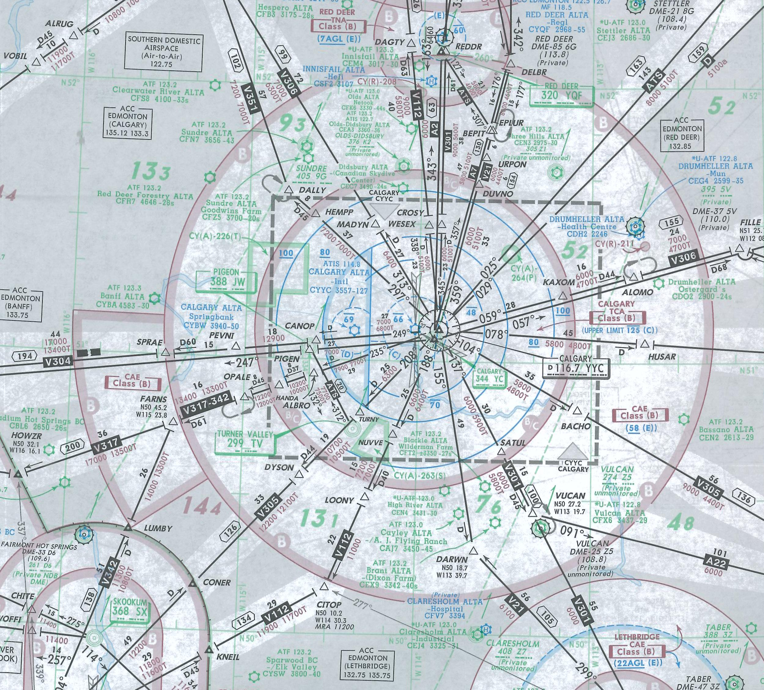 Langley Flying School Map Room, Calgary IFR